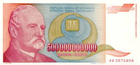 Jugosłowiański banknot o nominale 500 miliardów dinarów, z roku 1993.