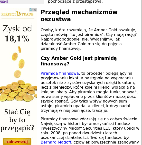 Reklama Perfect Trade na skubi.net