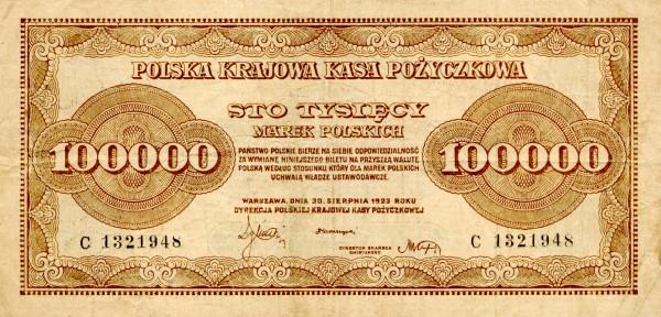 Polski banknot o nominale stu tysięcy marek, z roku 1923.