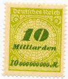 Niemiecki znaczek pocztowy za 10 miliardów marek, około roku 1923.