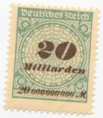 Niemiecki znaczek pocztowy za 20 miliardów marek, około roku 1923.
