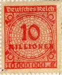 Niemiecki znaczek pocztowy za 10 milionów marek, około roku 1923.