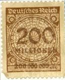 Niemiecki znaczek pocztowy za 200 milionów marek, około roku 1923.