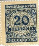 Niemiecki znaczek pocztowy za 20 milionów marek, około roku 1923.
