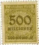 Niemiecki znaczek pocztowy za 500 milionów marek, około roku 1923.